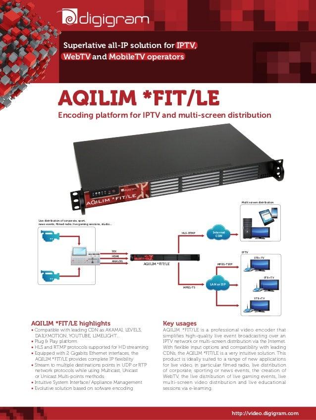 Superlative all-IP solution for IPTV, WebTV and MobileTV operators  AQILIM *FIT/LE  Encoding platform for IPTV and multi-s...