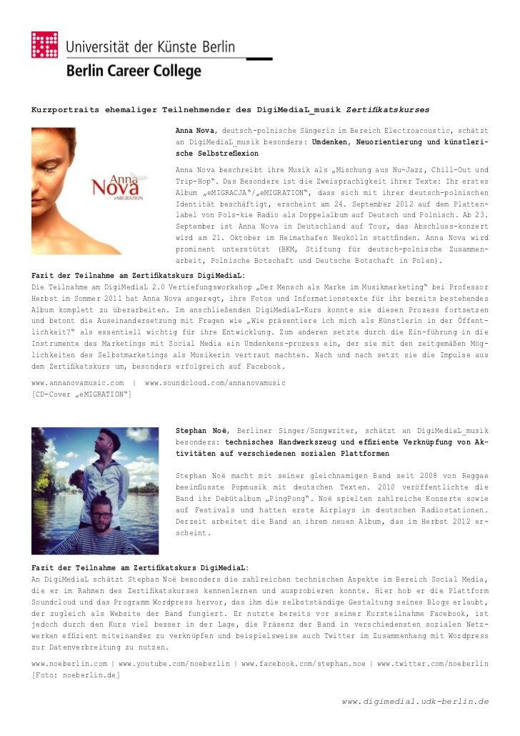 Kurzportraits ehemaliger Teilnehmender des DigiMediaL_musik Zertifikatskurses                                 Anna Nova, d...
