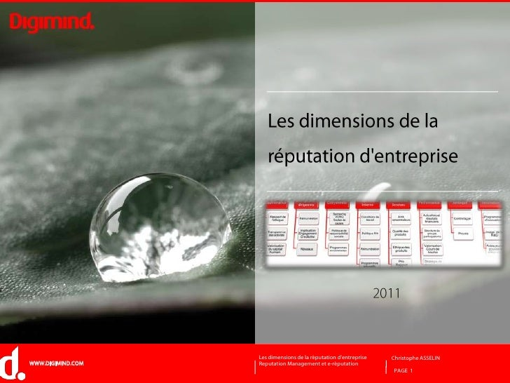 PAGE  1<br />Les dimensions de la réputation d'entreprise<br />2011<br />