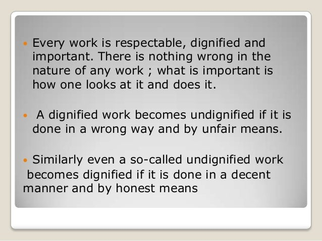 dignity of work essay