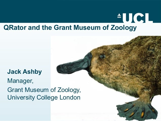 QRator and the Grant Museum of Zoology Jack Ashby Manager, Grant Museum of Zoology, University College London