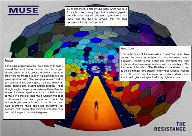 Muse CoverThis is the cover of the muse album 'Resistance' and I have chosen this cover to analyse and base my cover aroun...