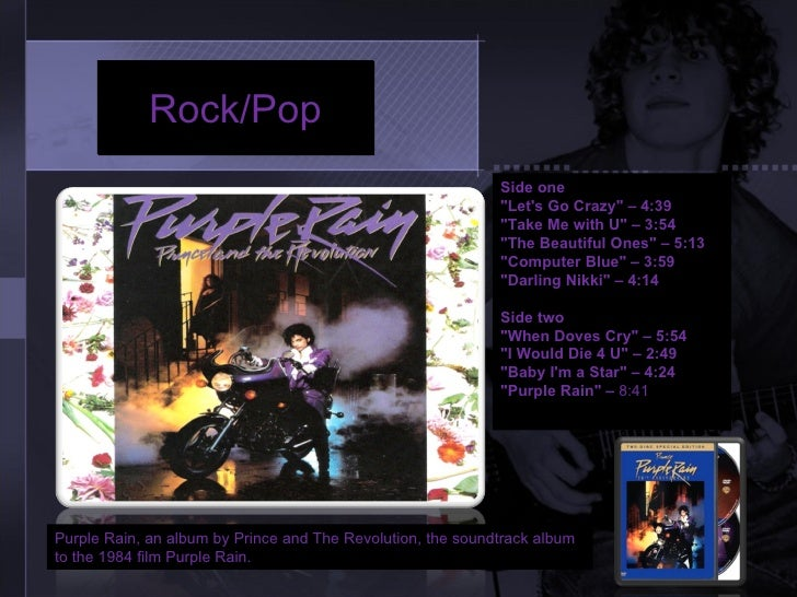 CD cover analysis for Purple Rain by Prince and The Revolution