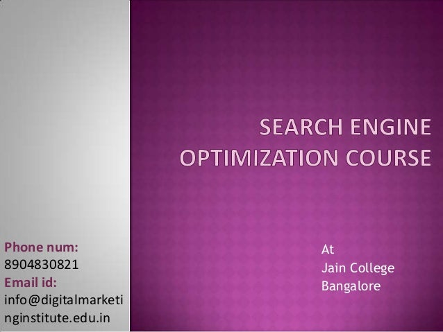 search engine optimization course in angalore