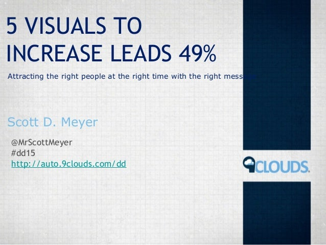 5 VISUALS TO INCREASE LEADS 49% Attracting the right people at the right time with the right message  Scott D. Meyer @MrSc...