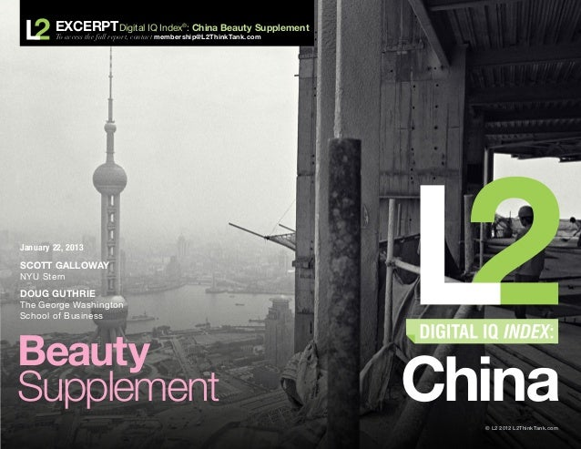 ExcerptDigital IQ Index              ®                                               : China Beauty Supplement        To a...