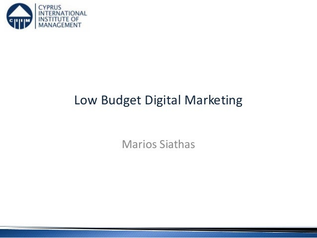 Low Budget Digital Marketing Marios Siathas