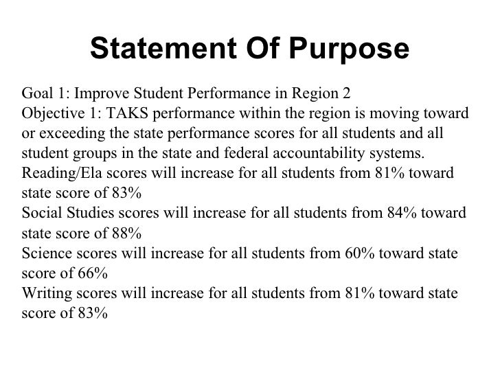 Statement Of Purpose Goal 1: Improve Student Performance in Region 2 Objective 1: TAKS performance within the region is mo...
