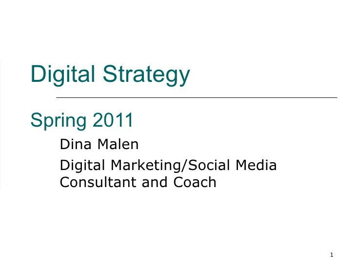 Digital Strategy   Spring 2011 Dina Malen Digital Marketing/Social Media Consultant and Coach