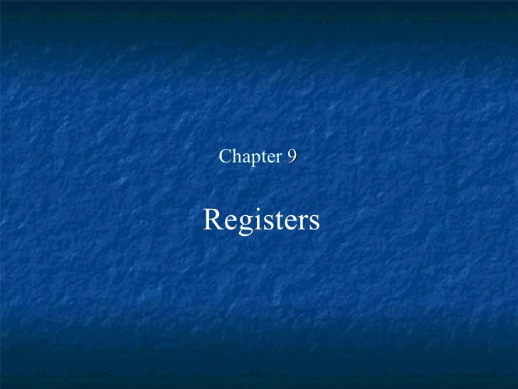 Chapter  9 Registers