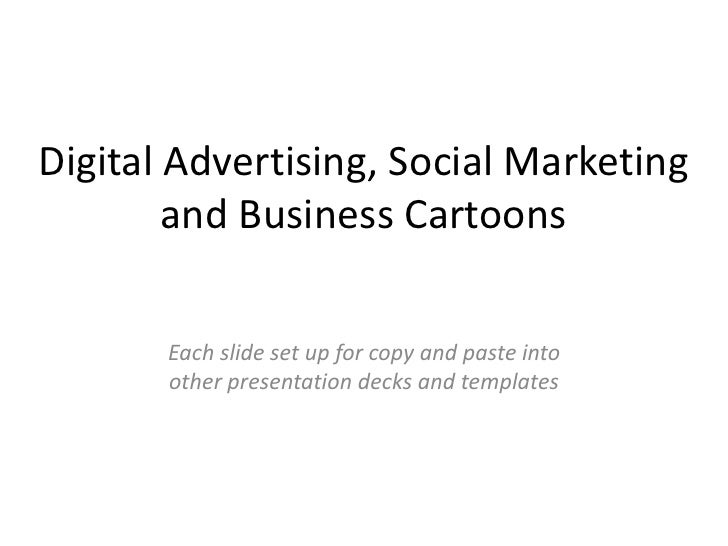 Digital advertising, social marketing and business cartoons