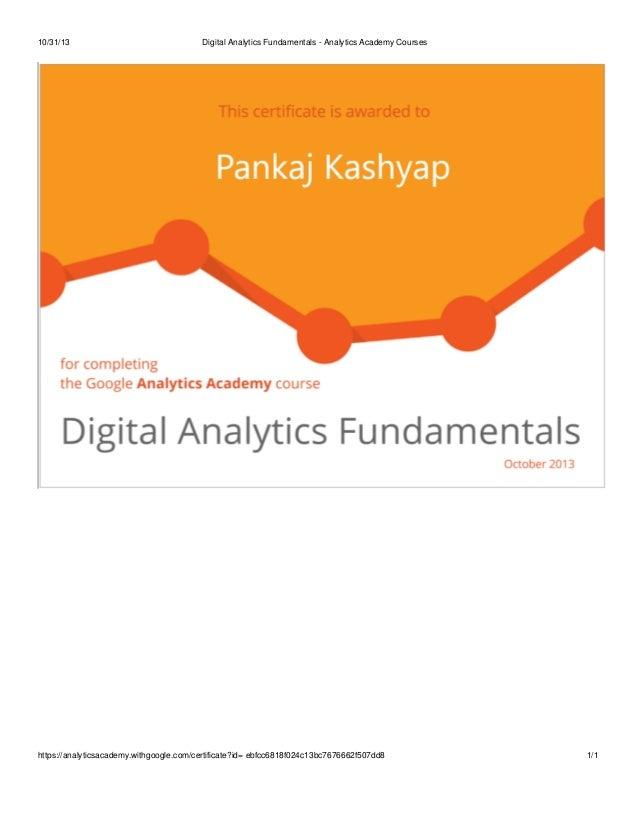 Digital analytics fundamentals certificate-pankaj kashyap