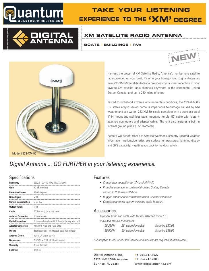Digital Antenna Satellite Radio Antenna Kit (233-XM-50) Digital Antenna