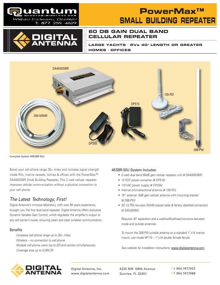 Digital Antenna 60dB Gain Wireless Repeater System (4KSBR-50U) Quantum-Wireless.com
