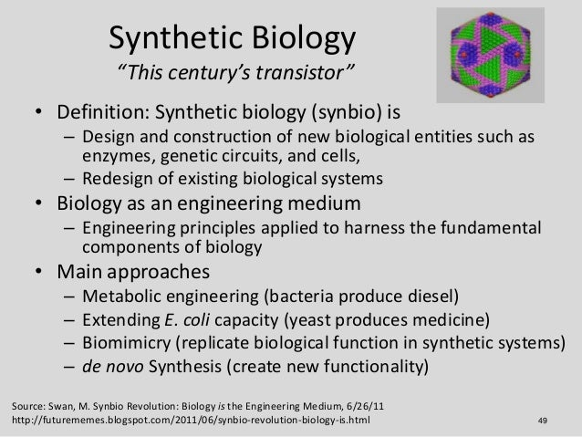 definition of synthesis When you synthesize, you combine two or more things to create something more complex it's becoming more common for doctors these days to synthesize eastern and western approaches to medicine.