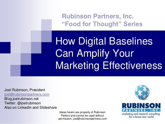 """Rubinson Partners, Inc.                                    """"Food for Thought"""" Series                             How Digit..."""