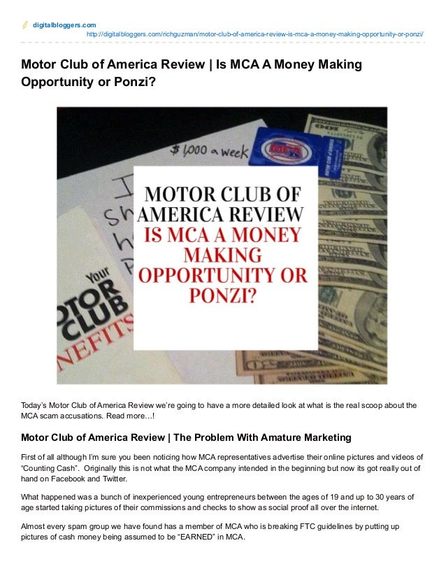 Motor club of america review is mca a money making for Mca motor club of america scam