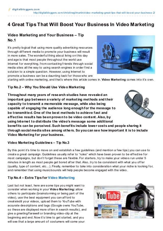 digit albloggers.comhttp://digitalbloggers.com/christinegilmartin/video-marketing-great-tips-that-will-boost-your-business...