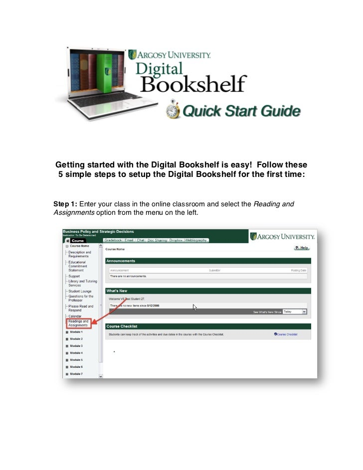 Digital Bookshelf and E-Text Quick Reference
