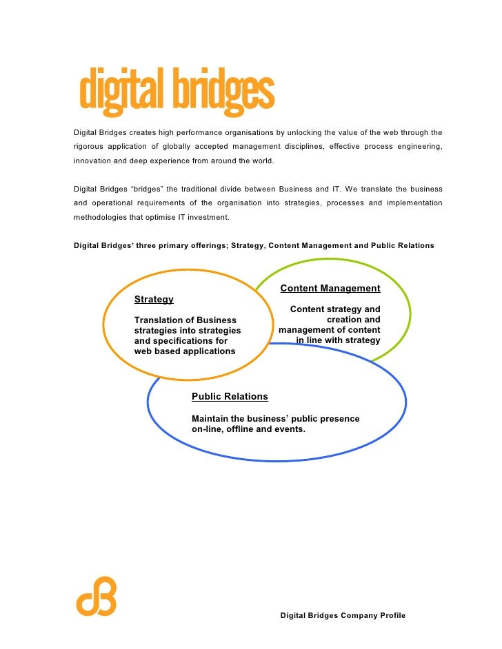 Digital Bridges creates high performance organisations by unlocking the value of the web through the rigorous application ...