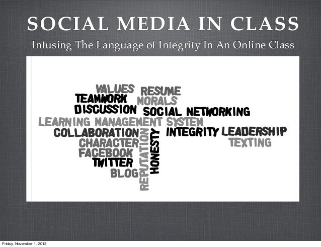 SOCIAL MEDIA IN CLASS Infusing The Language of Integrity In An Online Class  Friday, November 1, 2013
