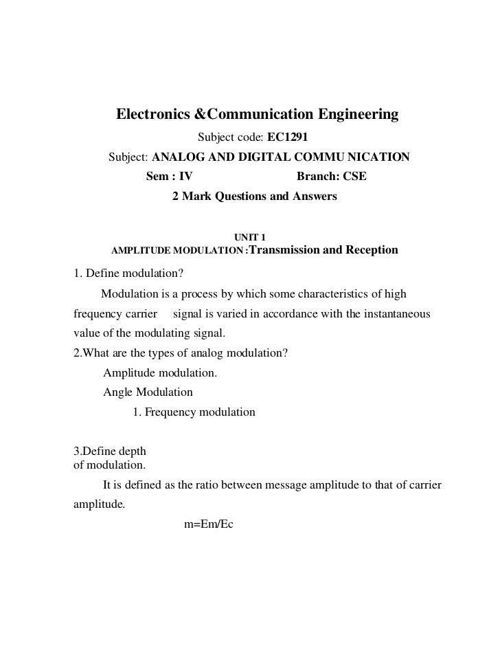 Electronics &Communication Engineering                            Subject code: EC1291       Subject: ANALOG AND DIGITAL C...