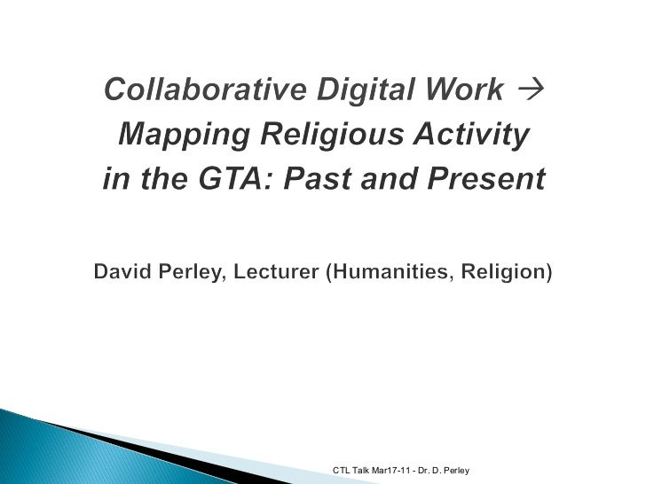 Collaborative Digital Work: Mapping Religious Activity in the GTA