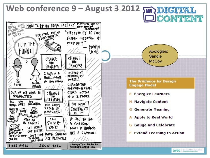 Web conference 9 – August 3 2012                                   Apologies:                                   Sandie    ...