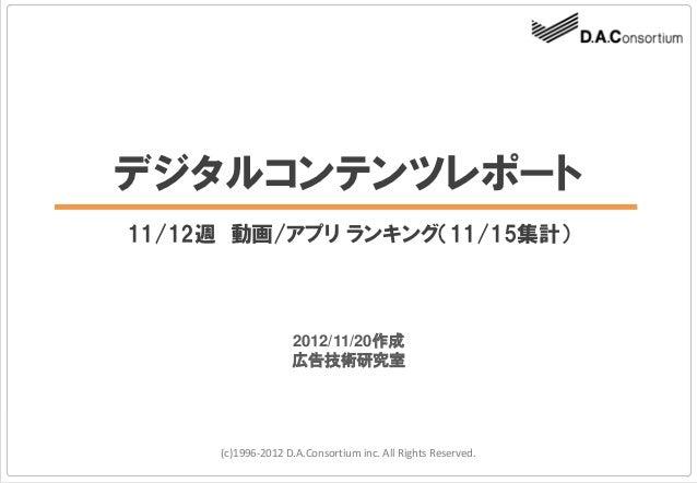 デジタルコンテンツレポート11/12週 動画/アプリ ランキング(11/15集計)                   2012/11/20作成                   広告技術研究室     (c)1996-2012 D.A.Co...