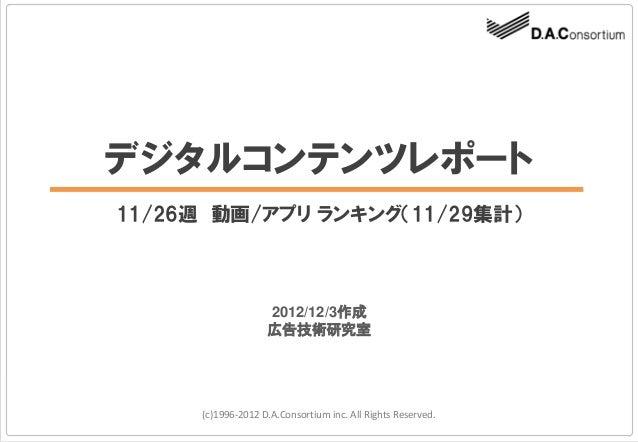 デジタルコンテンツレポート11/26週 動画/アプリ ランキング(11/29集計)                   2012/12/3作成                   広告技術研究室     (c)1996-2012 D.A.Con...