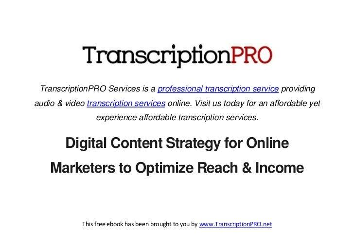 TranscriptionPRO Services is a professional transcription service providingaudio & video transcription services online. Vi...