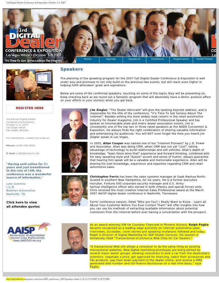 3rd Digital Dealer Conference & Exposition: October 1-3, 2007                                                             ...