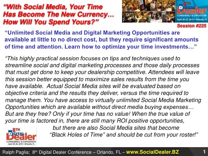 """""""With Social Media, Your Time Has Become The New Currency… How Will You Spend Yours?""""<br />Session #225<br />""""Unlimited So..."""