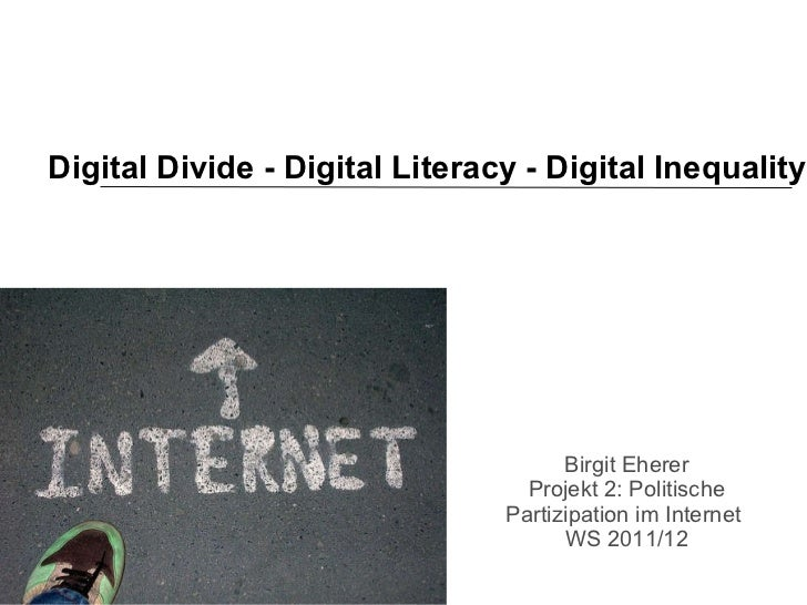 Digital Divide - Digital Literacy - Digital Inequality Birgit Eherer Projekt 2: Politische Partizipation im Internet  WS 2...