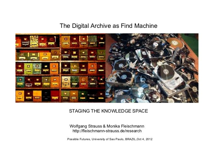 The Digital Archive as Find Machine   STAGING THE KNOWLEDGE SPACE   Wolfgang Strauss & Monika Fleischmann    http://fleisc...