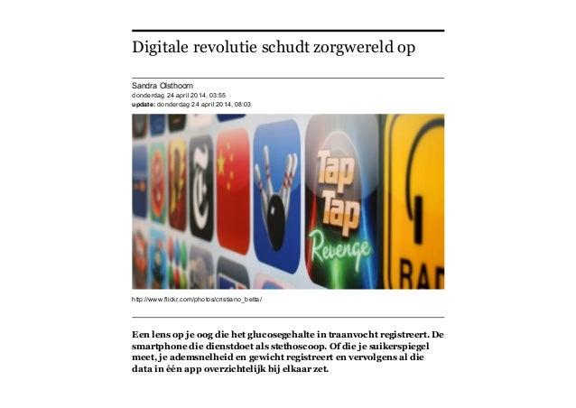 Digitale revolutie schudt zorgwereld op  FD 24/1/2014