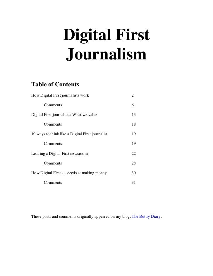 Digital First                    JournalismTable of ContentsHow Digital First journalists work                      2     ...