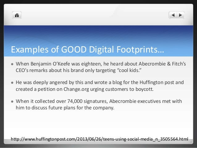 digital footprint is it good or In this talk, michelle dives into the effects of our digital footpr skip navigation sign in  how to have a good  breadcrumbs will lead to your digital footprint | curtis.