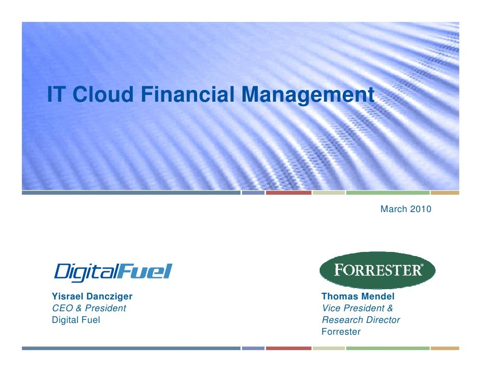 IT Cloud Financial Management                                         March 2010     Yisrael Dancziger       Thomas Mendel...