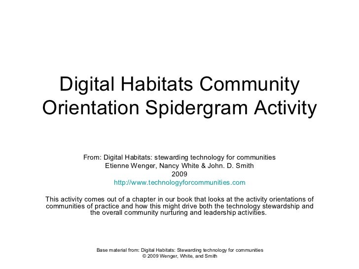 Digital Habitats Community Orientation Spidergram Activity From: Digital Habitats: stewarding technology for communities E...