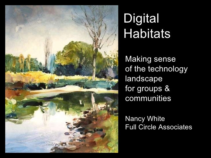 Making sense  of the technology landscape for groups & communities Nancy White Full Circle Associates Digital Habitats