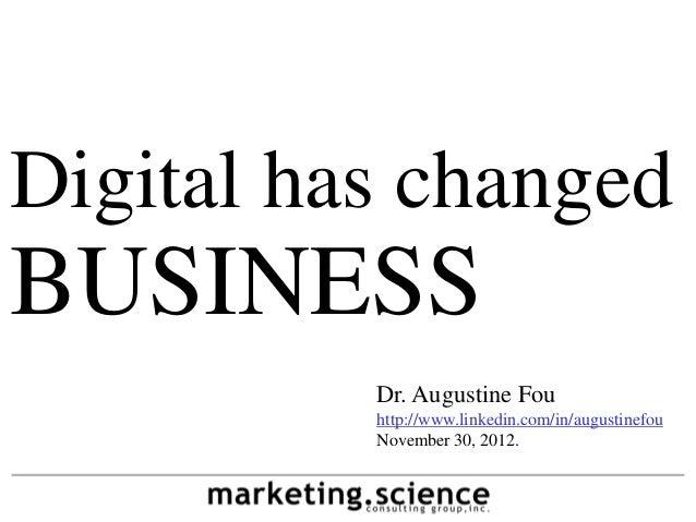 Digital has changedBUSINESS          Dr. Augustine Fou          http://www.linkedin.com/in/augustinefou          November ...