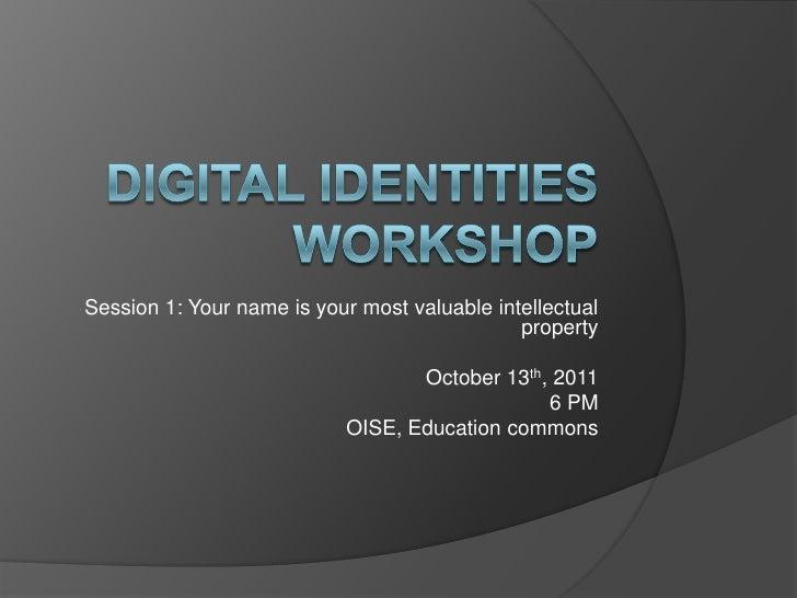 Digital identity workshop session 1