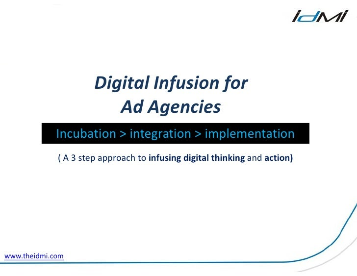 Digital Infusion for                         Ad Agencies             Incubation > integration > implementation            ...