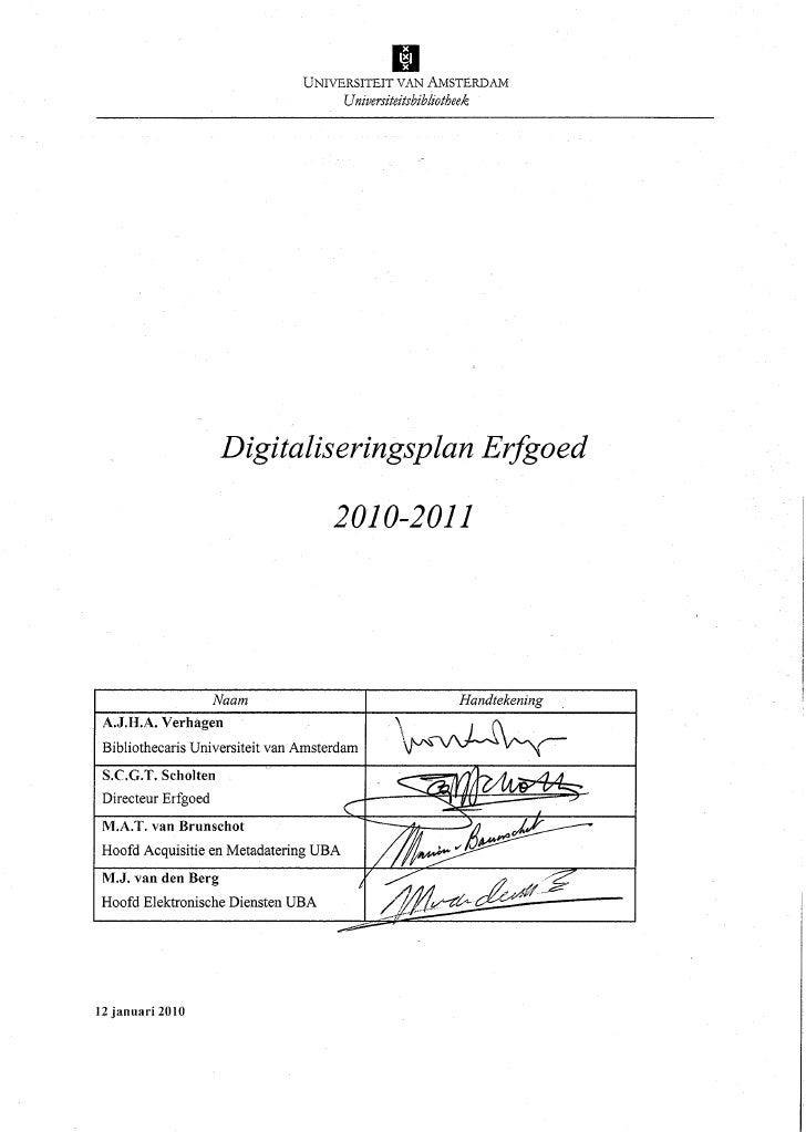 Digitaliseringsplan Erfgoed (Universiteitsbibliotheek Amsterdam) 2010-2011. By Henriette Reerink
