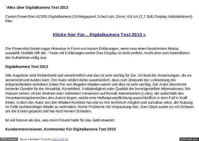 """Alles über Digitalkamera Test 2013  Canon PowerShot A2300 Digitalkamera (16 Megapixel, 5-fach opt. Zoom, 6,9 cm (2,7 Zoll..."