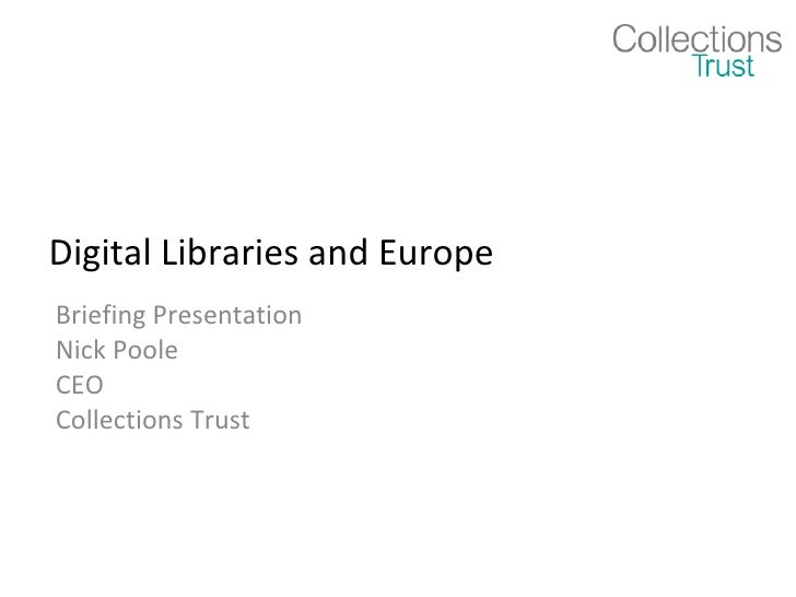 Digital Libraries and Europe