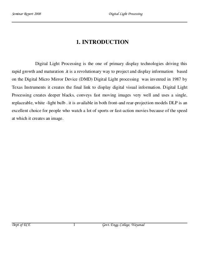 Seminar Report 2008                                   Digital Light Processing                                       1. IN...