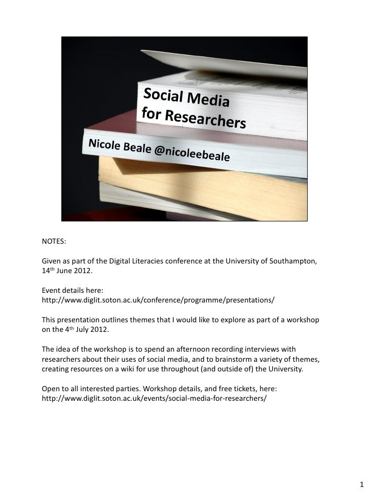 Social Media for Reseachers #sotondiglit