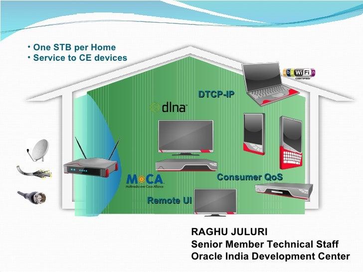 DTCP-IP Consumer QoS Remote UI <ul><li>One STB per Home </li></ul><ul><li>Service to CE devices  </li></ul>RAGHU JULURI Se...